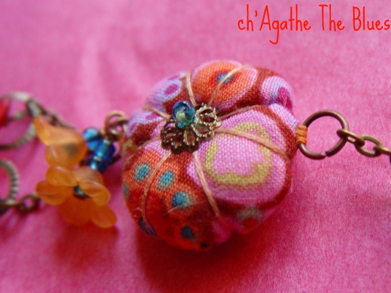 Bracelets originaux avec fleurs potirons en tissu at ch agathe the blues - Bracelets bresiliens originaux ...