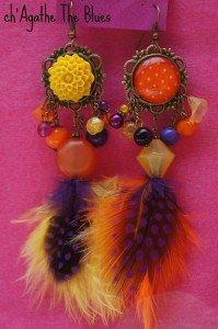 Boucles d'oreilles sur-mesure... cabochon-plumes  dans bijoux en couleur... DSC03425-199x300